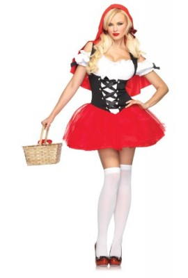 Leg Avenue Women' S Racy Red Riding Hood Tutu Peasant Dress With Attached Hooded Cape